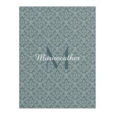 Slate Teal Floral Damask Fleece Blanket #monogram #fleece #blanket #homedecor #gifts #floral