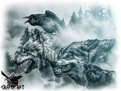 Geri, Freki, Huginn and Muninn by thecasperart on DeviantArt