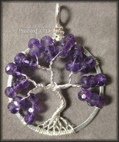 This is very pretty, but I don't really expect people to pay $70 for it.  February Tree - Tree of Life Pendant in Amethyst Gemstone and Sterling Silver Wire $70