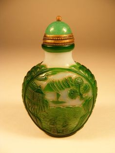 Vintage Chinese Snuff Bottle Overlay Glass by megsantiques on Etsy, $179.00