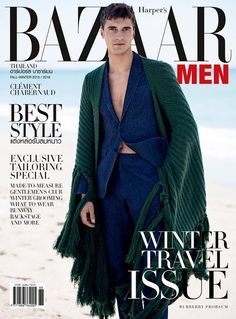 French model Clément Chabernaud lands another cover as he poses for Harper's Bazaar Men Thailand. Appearing on the magazine's fall-winter 2015 cover… Men's Fashion, Male Fashion Trends, Img Models, Male Models, Harper's Bazaar, Fashion Magazine Cover, Magazine Covers, The Fashionisto, Knitted Cape