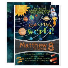 Space Solar System Planet Birthday Invitation