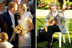 Bride and groom natural photography. Wedding musician. Pangdean Barn wedding captured by Sussex wedding photographer Dennison Studios Photography. Autumn wedding. Fall wedding.