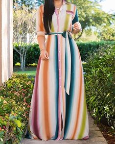 Style:Fashion Pattern Type:Stripes Polyester Neckline:Turn-down Collar Sleeve Style:Half Sleeve Length:Maxi Occasion:Casual Package Dress Note: There might be Trend Fashion, Fashion Outfits, Style Fashion, Latest Fashion, Mode Instagram, Maxi Shirt Dress, Maxi Dresses, Shirt Outfit, Blazer Dress
