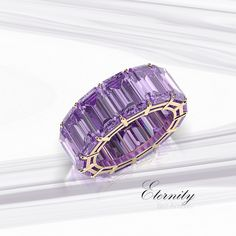 Beautiful Jewelry A gorgeous eternity gemstone band featuring a beautiful emerald cut, natural, untreated amethyst. - Bez Ambar, the inventor of the princess cut diamond, creates beautiful custom engagement rings and fine jewelry in Los Angeles. Diamond Bands, Diamond Wedding Bands, Wedding Rings, Solitaire Diamond, Amethyst Jewelry, Crystal Earrings, Silver Jewelry, Vintage Engagement Rings, Diamond Engagement Rings