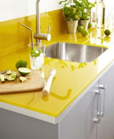 countertop ideas yellow glass kitchen counter