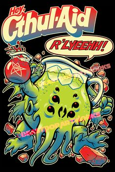 """""""CTHUL-AID"""" Cthulhu/Kool-Aid mascot mashup. Drawn with pen, brush and ink, colored in Photoshop. Available at my Society6 Shop: http://society6.com/BeastWreck DesignByHumans shop: http://www.designbyhumans.com/shop/BeastPop/ And my TeePublic shop: https://www.teepublic.com/user/beastpop"""