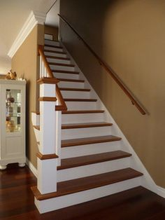 Completed Projects Submitted by Satisfied Customers - Stair Supplies Attic Remodel, Living Room Remodel, Honey Oak Trim, Stair Supplies, Warm Paint Colors, White Staircase, House Painting, Staircase Painting, Maple Floors