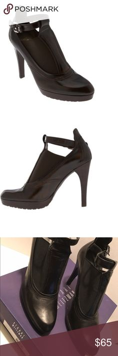"""Stuart Weitzman Toboggan Pumps Great shoe for work and the after work party. calf leather upper # Elastic vamp # Antique buckle detailing # Adustable strap # Leather lining # Rubber outsoles # Approx. 4 ½"""" heel with ¾"""" platform # Made in Spain Stuart Weitzman Shoes Heels"""