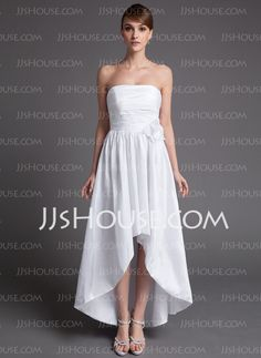 A-Line/Princess Strapless Asymmetrical Taffeta Wedding Dress With Ruffle Flower(s) (002025837) -  algo mas sencillo