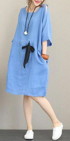 Fashion Drawstring Linen Clothes Women Casual Clothing , Fashion Drawstring Linen Dresses Women Casual Clothes , Casual Comfort Outfits Source by ketreacy Simple Dresses, Casual Dresses For Women, Casual Outfits, Summer Dresses, Clothes For Women, Casual Clothes, Dress Casual, Style Clothes, Casual Wear