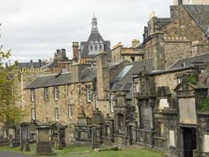 Edinburgh Scotland - In the thriller novel THE STOLEN CHALICE the action goest to the haunted and beautiful city and takes a dangerous turn of events.  This is a picture of Greyfriars Cemetary in the heart of Edinburgh.