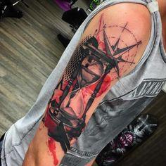 Abstract hourglass tattoo by David Giersch