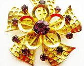 Vintage Purple Amethyst Rhinestone Gold Tone Brooch February Birthstone Jewelry