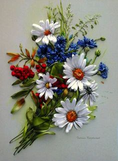 Embroidered picture ,  Silk ribbon embroidery, wildflowers, ribbonwork di…