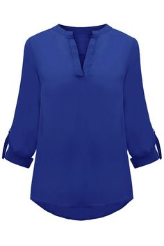 f739324531a Royal Blue V-sionary Trendy Women V Neck Chiffon Blouse Top Chiffon Shirt