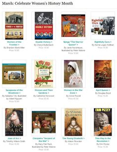 A list of 28 great books celebrating women and Women's History Month. Collection includes stories of Mary Queen of Scots, Queen Elizabeth I, Cleopatra, Joan of Arc, as well as contemporary female heroes like Susan B. Anthony, Women of World War II, the first female baseball players, and women inventors.