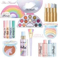 Eyes New! Life's A Festival Unicorn Rainbow Too Faced Collection-Pick 1 Nib Real Too Faced Lipstick, Too Faced Makeup, Unicorn Makeup, Unicorn Nails, Couture Nails, Beautiful Nail Polish, Christmas Manicure, Cute Makeup, Kawaii Makeup