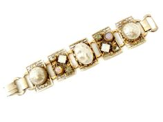 """Vintage Panel Bracelet Large Baroque Pearls Stones 7.5"""" Faux Opals Moonstones Rectangular Panels Gold Tone Filigree Chunky Costume Jewelry by CollectionSelection on Etsy"""