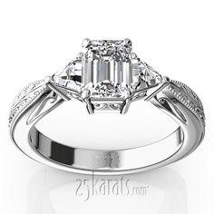 Antique Design Engraved Three Stone Diamond Engagement Ring(0.40 ct. tw.)