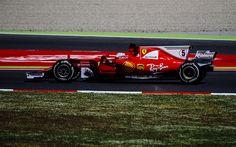 Descargar fondos de pantalla 4k, Sebastian Vettel, pista de carreras, Ferrari SF70H, F1, Formula 1, de la Scuderia Ferrari, el movimiento