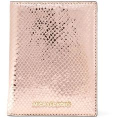 MICHAEL MICHAEL KORS Leather Passport Holder (710 SEK) ❤ liked on Polyvore featuring bags, python bag, python leather bag, snake print bag, pink leather bag and genuine leather bag