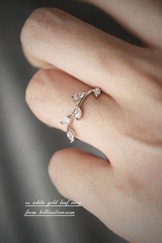 CZ White Gold Olive Leaf Ring from kellinsilver.com