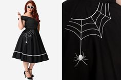 #PlusModelMag Sponsored Plus Trend: Hell Bunny Little Miss Muffet Spider Web Swing Skirt at Mystic Crypt #PLUSmodelmag