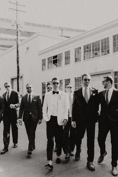 Groomsmen wearing black suits - Earthy Luxe Oregon Wedding at Castaway Portland Wedding Groom, Wedding Attire, Grooms Party, Indoor Ceremony, Groom And Groomsmen Attire, Youre My Person, Monochrom, Bride Hairstyles, Dream Wedding