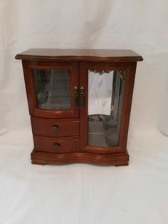 Vintage Wooden Jewelry Armoire Box Chest 2 Drawer 2 Doors Curved Etched Glass