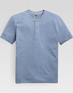 Pronto Blue Modern Fit Henley T-Shirt, Heathered Sky Blue