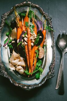 Roasted Carrot, Beet and Turnip Salad with Red Onion, Arugula, Hazelnuts, Rosemary and Maple Orange Caper Vinaigrette