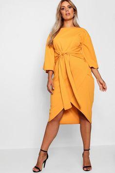 29d197d2b68e Plus Kimono Sleeve Wrap Over Midi Dress. Boohoo Plus Size DressesBodycon ...
