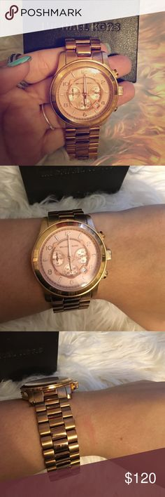 Michael Kors RoseGold Watch MK8096 is the model, Watch was used but in Good Condition! The RoseGold has deepen a but but it's beautiful !!! Michael Kors Accessories Watches