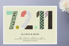 Pattern Numbers Save the Date Cards by Alethea and... at Minted.com