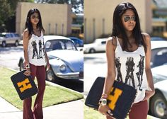 Silence And Noise High Waist Flare Jeans, Urban Outfitters Tank, H.O.T Laptop Sleeves