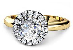 18 Ct white and yellow gold diamond halo ring