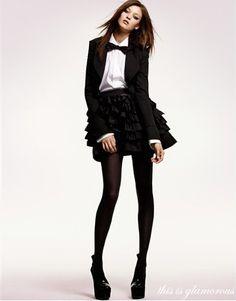 Ruffling skirt and men blazer.