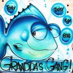 Airbrush family grandpas gang fishing T by TheAmazingAirbrush, $19.95