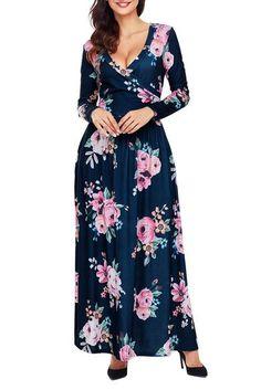 165b47b24f Robe Boheme Manches Longues Fleur Surplis Bleu Marine