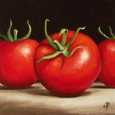 """Tomatoes"" - Original Fine Art for Sale - © Jane Palmer"