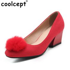Size 31-47 Ladies High Heel Shoes Women Slip-On Flower Round Toe Pumps Square Heels Fashion Casual Soft Zapatillas Mujer