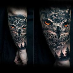 40 realistic owl tattoo designs for men – nocturnal bird ideas - Tattoo Designs Men Owl Forearm Tattoo, Owl Eye Tattoo, Mens Owl Tattoo, Nature Tattoo Sleeve, Sleeve Tattoos, Tattoo Nature, Owl Tattoo Design, Tattoo Designs Men, Wolf Tattoos