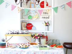 sewing theme baby shower - Made this pennant banner. Cut double of the triangles out of material and hot glue together. Hot glue the rick rack.