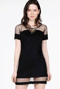 Black Contrast Sheer Mesh Yoke Loose Dress - Sheinside.com Mobile Site Black  Mesh e37f73b2bf47