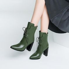 Vamp Material: PU Sole Material: Rubber Opening Type: Lace Up Heel Type: Square Heel Heel Height: cm) Toe Cap: Pointed Toe Rear Type: Cover Heel Styles: Fashion Occasion: Casual Decoration: Lace up Pattern Type: Plain Season: Autumn, Winter Boot Leg Hot High Heels, High Heel Boots, Heeled Boots, Bootie Boots, Shoe Boots, Ankle Boots, Lace Up Heels, Lace Up Boots, Cute Shoes