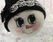 Snowlady Chic, Hand Painted Standard Light Bulb Ornament, CSST, ECS
