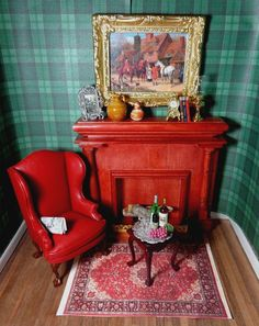 New Dollhouse Gentleman's Den Leather Chair Fireplace Persian Rug Much More | eBay