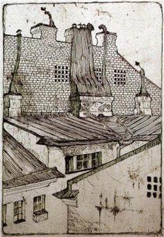 Mstislav Dobuzhinsky, Rooftops, 1901, etching http://www.wikipaintings.org/en/mstislav-dobuzhinsky/rooftops-1901