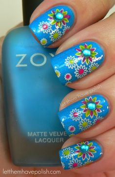 Spring Nails, Floral Nail Art, Colorful Background, White Outlined Flowers (Day 14 in post) Fancy Nails, Cute Nails, Pretty Nails, Spring Nail Colors, Spring Nails, Summer Nails, Fabulous Nails, Gorgeous Nails, Nail Art Designs